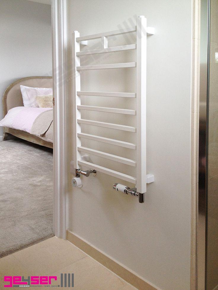 "Geyser ""LINEO"" Bianco (White) Square Profile, Heated Towel Rail / Electric Towel Rail / Dual Fuel Towel Rail"