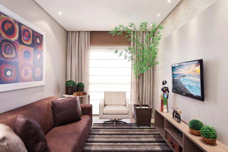 Apartamentos pequenos: sala de estar de um apartamento, de 49 m². Projeto de Karla Amaral Madrilis.
