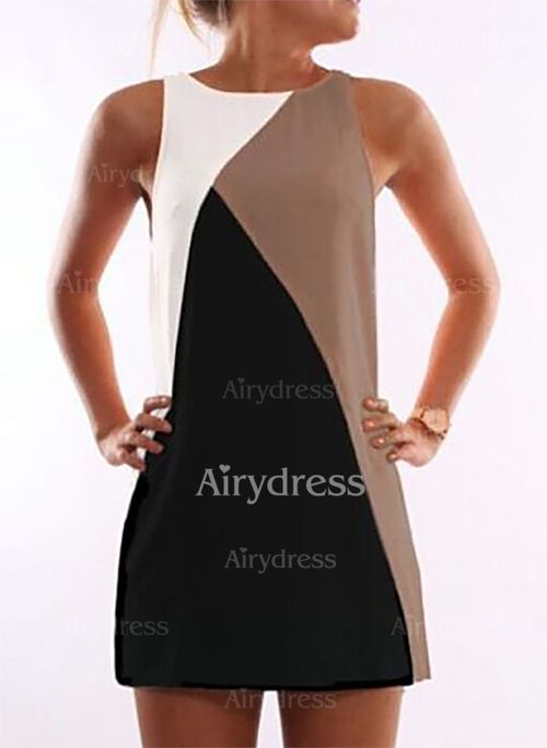 Dress - $11.84 - Polyester Color Block Sleeveless Above Knee Casual Dresses (1955137423)