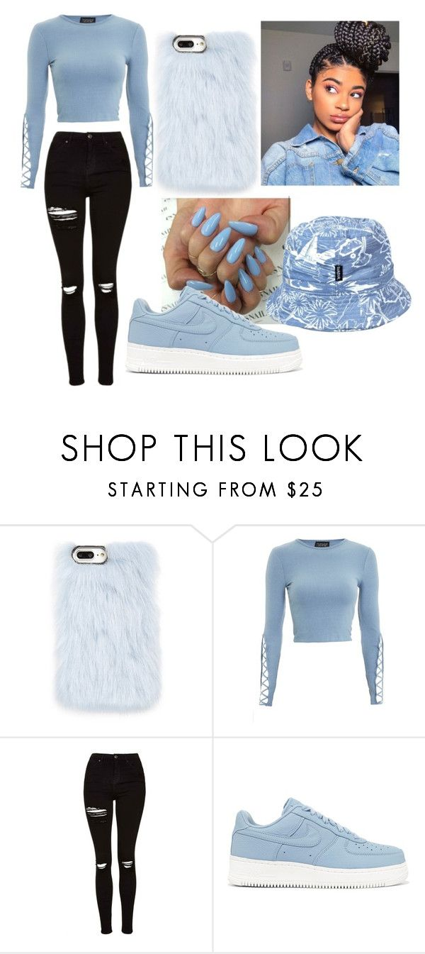 """Baby Blue❗❗❗""❤ liked on Polyvore featuring Skinnydip, Topshop, NIKE and tuktuk"