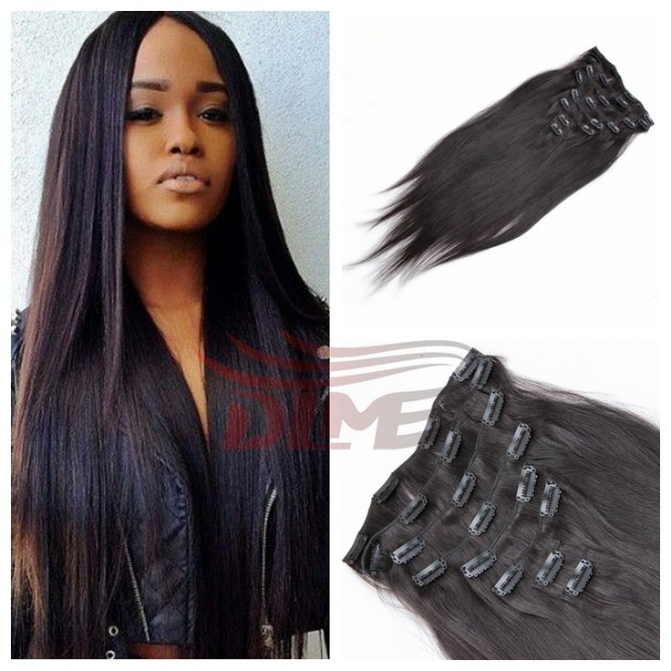 29 best clip on images on pinterest clip in hair extensions stock cheap 7a brazilian virgin hair clip in hair extensions silk straight for black women clips pmusecretfo Image collections