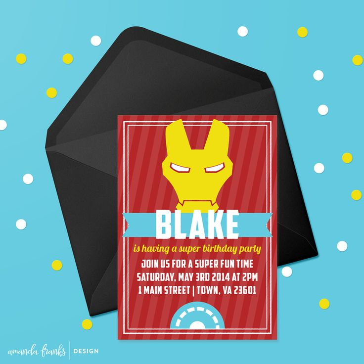 Digital 5x7 Invitation - Customizable - Iron Man