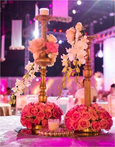 table settings decor, floral centerpiece, gold candelabras