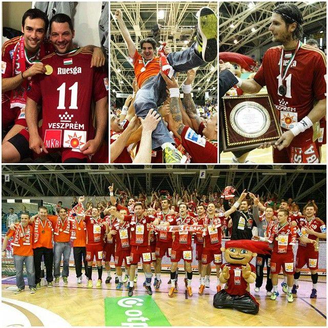 ¡Campeones de la #LigaHúngara 2014/2015! Ha sido increíble, nunca lo olvidaré amigos. Gracias por vuestro apoyo. #equipo Champions of #HungarianLeague!✌It was amazing and I will never forget it. Thanks for your support my friends. #team @laszlonagy19 @c_ugalde23 #MagyarBajnok 2014/2015 @mkbmvmveszprem @veszpremkfc #balonmano #handball #kézilabda