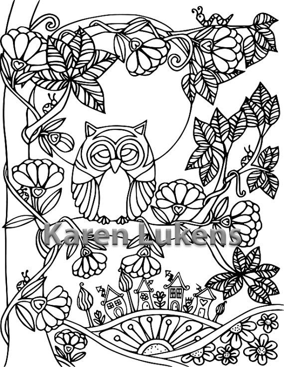 Check Out This Item In My Etsy Shop Owl MoonAdult ColoringColoring PagesColoring