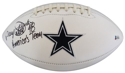 Daryl Moose Johnston Signed Dallas Cowboys Logo Football Americas Team Beckett