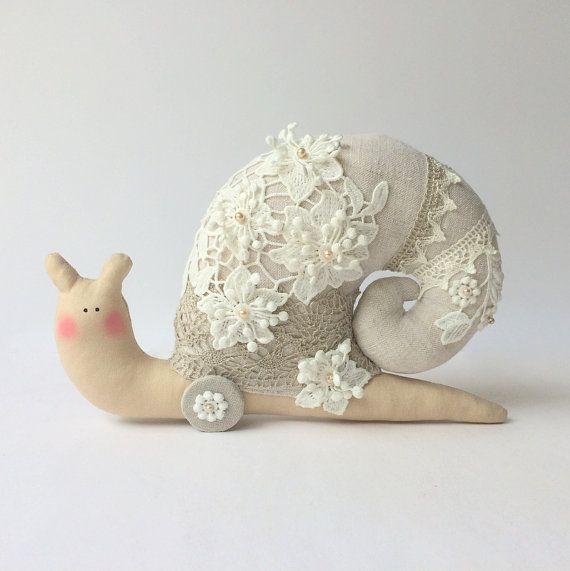 Snail toy Shabby chic toy plush Snail. Grey by CherryGardenDolls