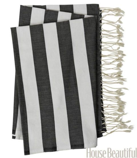 """Generously sized, they can be pressed into service as beach wraps and throws — or as a tablecloth. 100-percent cotton Fouta Towels Collection, 38"""" × 78"""", $66. scentsandfeel.com."""