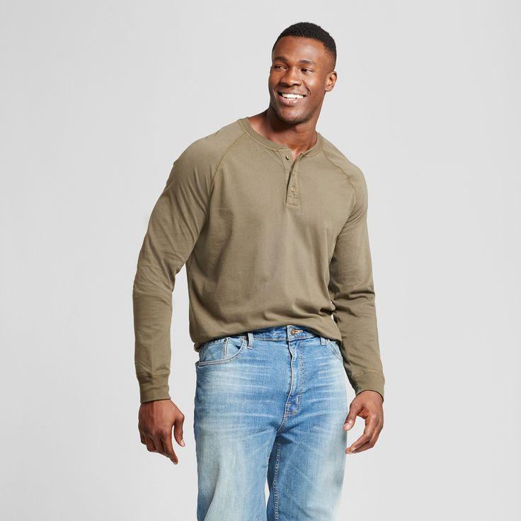 Men's Big & Tall Standard Fit Long Sleeve Henley T-Shirt - Goodfellow & Co Olive (Green) 4XBT