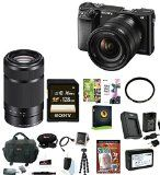 Sony Alpha a6000 24.3 Megapixel Mirrorless Interchangeable Lens Digital Camera with 16-50mm Lens (Black) + Sony E 55-210mm F4.5-6.3 Lens + Sony 128GB SDXC Memory Card + Deluxe Accessory Bundle