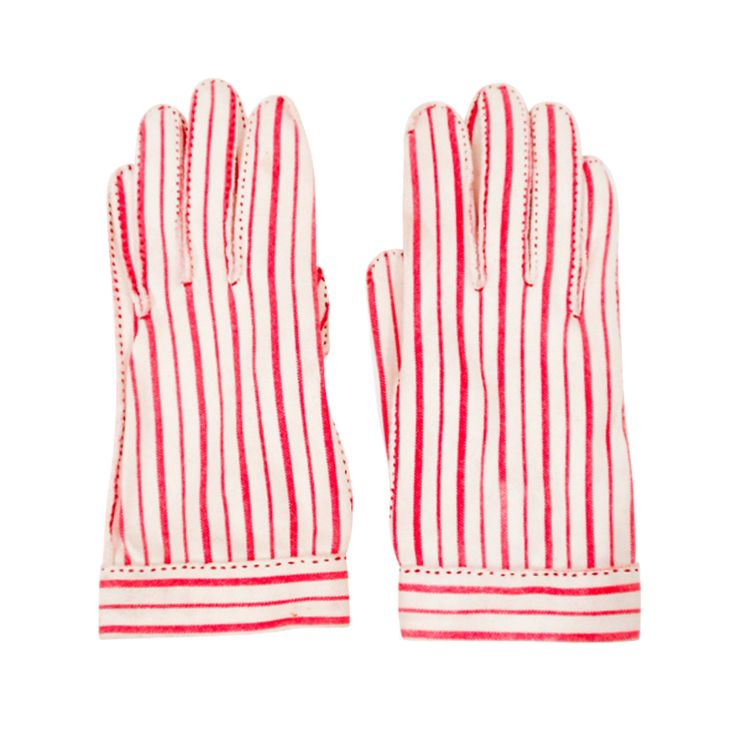 Hermes 'Wear Right' Red & White Striped Gloves