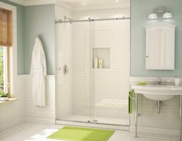 i just fell in love with this spin on a clear shower door they combined