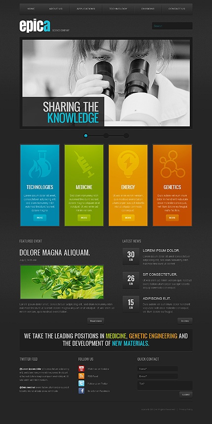 dark and colorful web design