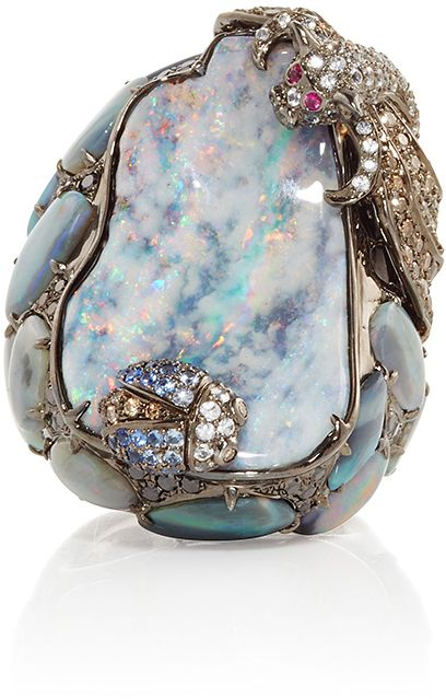 Rosamaria G Frangini | High Blue Jewellery | Wendy Yue Opal Beetle and Bat Ring