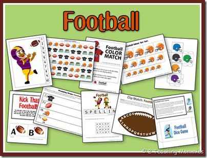 Awesome free preschool football theme printables, letter and number game ideas!!! :D