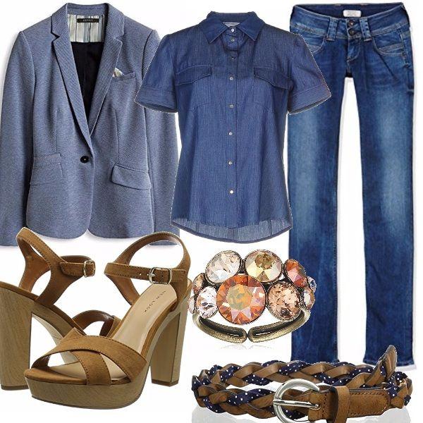 Adoro il jeans abbinato ad una giacca stile blazer; in questo caso ho scelto una camicia jeans avvitata e a manica corto che potrete indossare dentro al pantalone. Per questo ho inserito questa cinta sfiziosa in cuoio a pois. Un sandalo alto aperto ed un anello luminoso sui toni del beige.Perfetta per concludere il look, una shopping bag in cuoio.