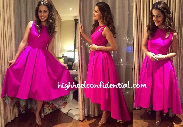 For her appearance at an event in Pune, Taapsee picked a Masala Chai Dubai dress. The hot pink high-low dress that featured a printed floral lining was set off perfectly with metallic sandals. Ms. Pannu looked nice! Taapsee Pannu At An Audi Event More guilt readingIn KashmiraIn Archana Rao LabelIn Malini RamaniIn Twos