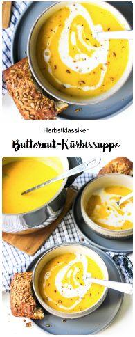Perfekt für kuschelige Abende und leckere Vorspeisen. Der Herbstklassiker schlechthin: Butternut-Kürbissuppe