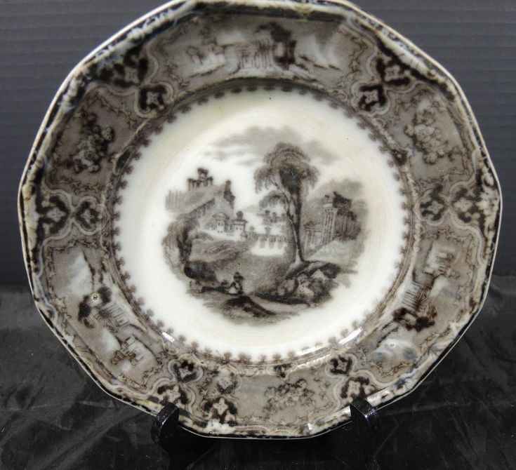 """Antique John Alcock Mulberry 8 1/4"""" Plate * Vincennes Pattern 