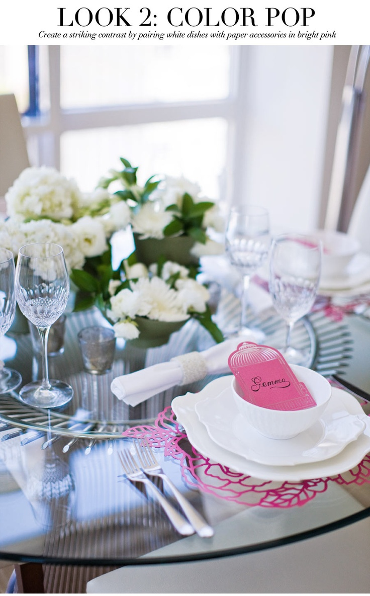 Look 2: Color Pop - Create a striking contrast by pairing white dishes with paper accessories in bright pink