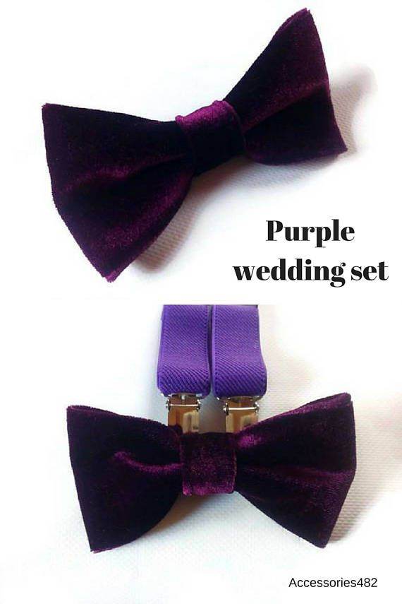 Plum velvet wedding bow tie  purple  suspenders  outfit for