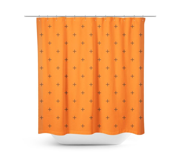 Swiss Cross Orange Shower Curtain