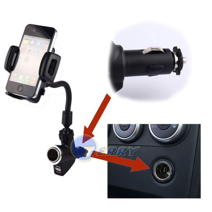 Dual USB 2-портовый Автомобильное Зарядное Устройство Сотового Телефона Держатель для iPod GPS iPhone 4S 5S SE 5C Мобильный Гора Автомобилей Стенд Держатель Телефона Телефон