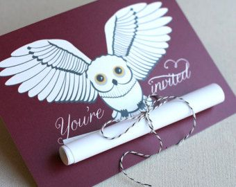 Snowy Owl Scroll Invitation, Harry Potter inspired (15)