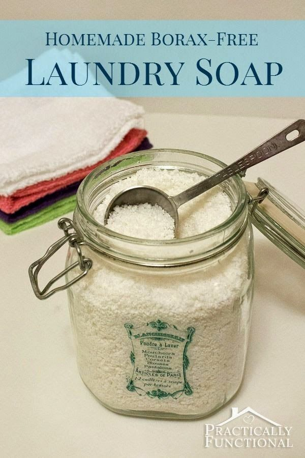 Avoid harsh, toxic chemicals in your laundry with this homemade borax free laundry detergent! It's cheaper than commercial laundry soap and cleans just as well or better!