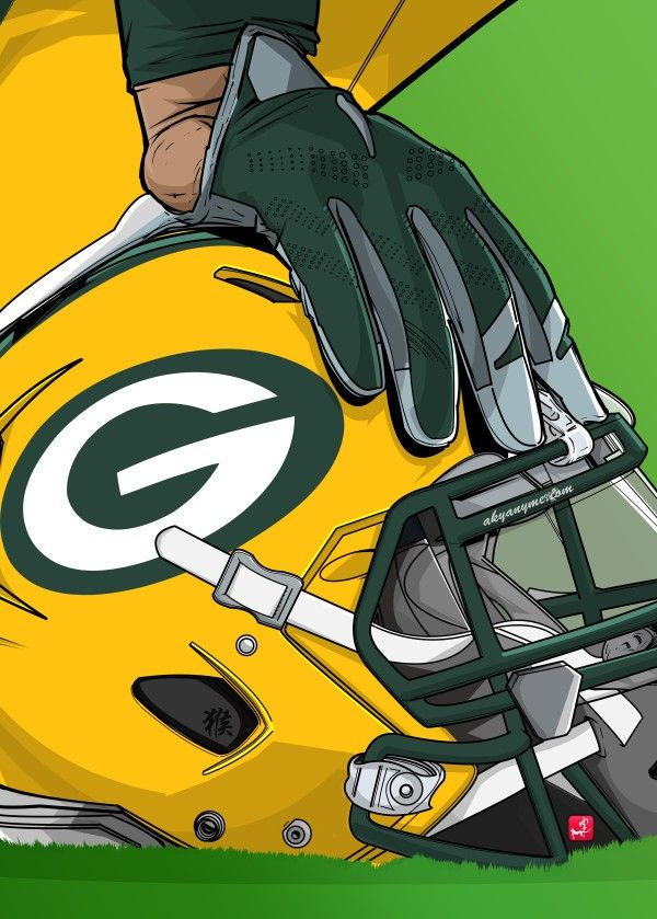 "NFL Team Helmets Green Bay Packers #Displate artwork by artist ""Akyanyme Dotcom"". Part of a 32-piece set featuring helmet designs based on team emblems from the NFL National Football League. £38 / $51 per poster (Regular size), £76 / $102 per poster (Large size) #NFL #NationalFootballLeague #AmericanFootball #SuperBowl #GreenBayPackers #Packers"