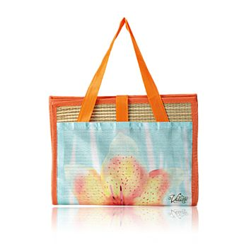 Exotic Flower Beach Mat - Make a splash with this gorgeous, good-size straw beach mat. Sports an exclusive Valerie floral design. Easy to fold up and with handles for carrying.