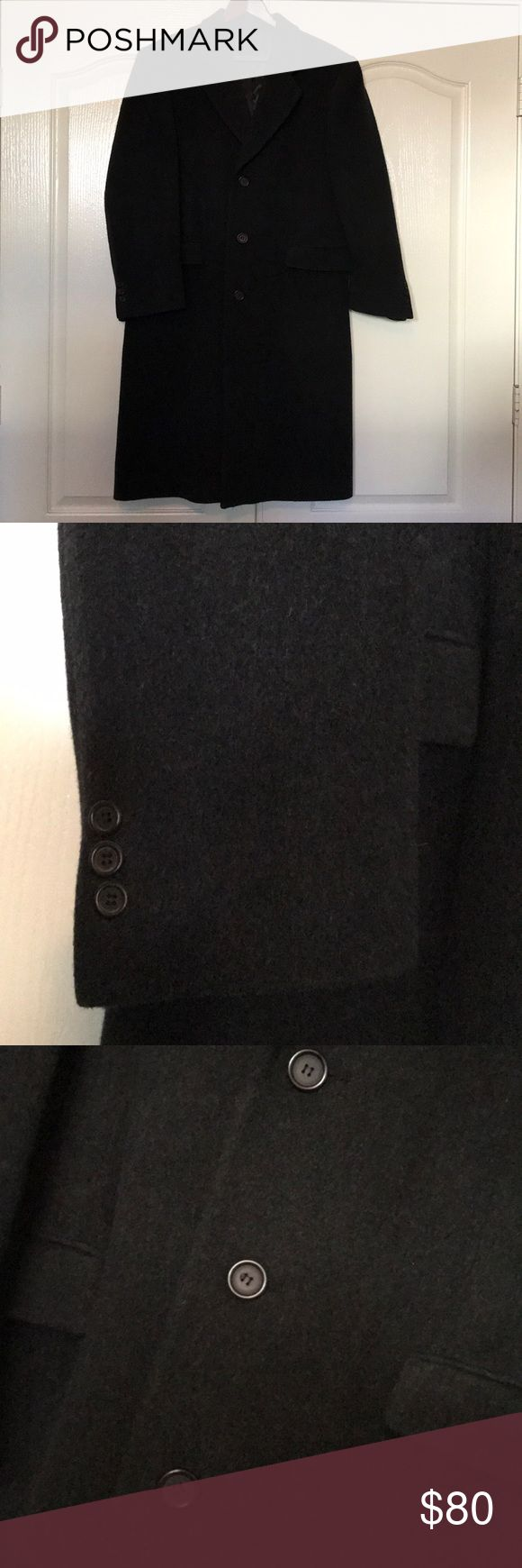 """Men's Grey Wool/Cashmere blend winter coat Excellent condition, warm, wool/cashmere, charcoal grey coat. Fits 5'8"""" medium build man (no size tag).  Interior pockets for safekeeping. nino cerruti Jackets & Coats Trench Coats"""