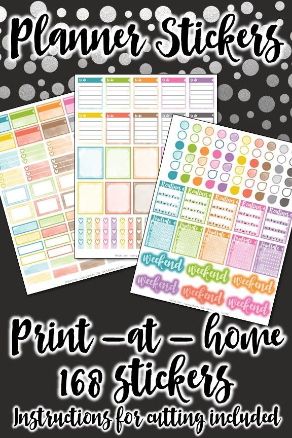 Printable planner stickers made to fit the Erin Condren vertical life planner.  Over 150 stickers to make your planner prettier and more functional.  Instructions for cutting are included.