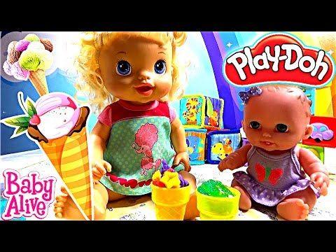 ❤ Куклы пупсики кушают мороженое Плей До Беби Элайв лепим готовим baby a...