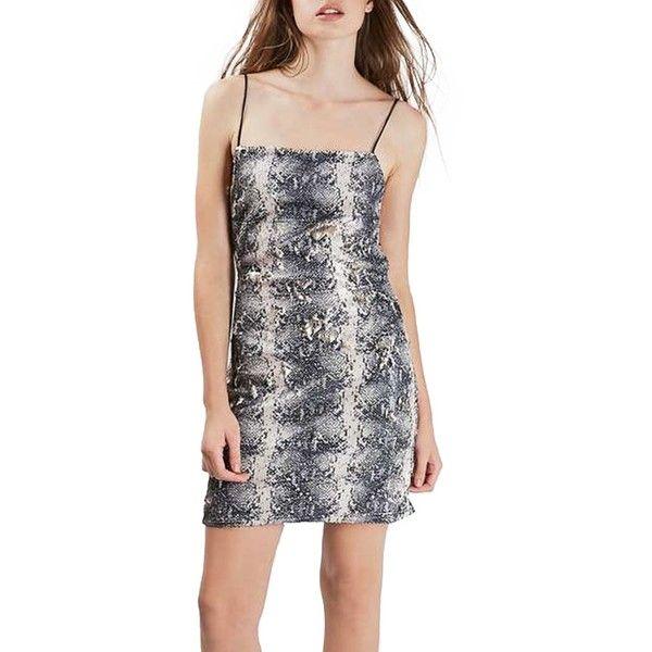 TOPSHOP Snake Pattern Sequin Minidress (Petite) ($60) ❤ liked on Polyvore featuring dresses, petite, silver multi, open back cocktail dress, short dresses, petite cocktail dress, mini dress and spaghetti strap dress