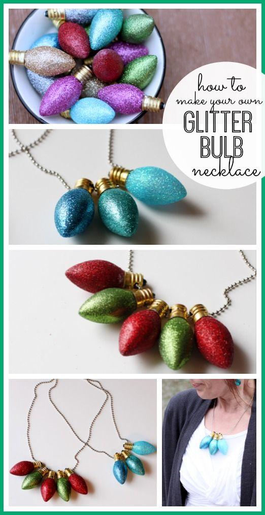 Glitter Christmas Light Bulb Necklace - Sugar Bee Crafts