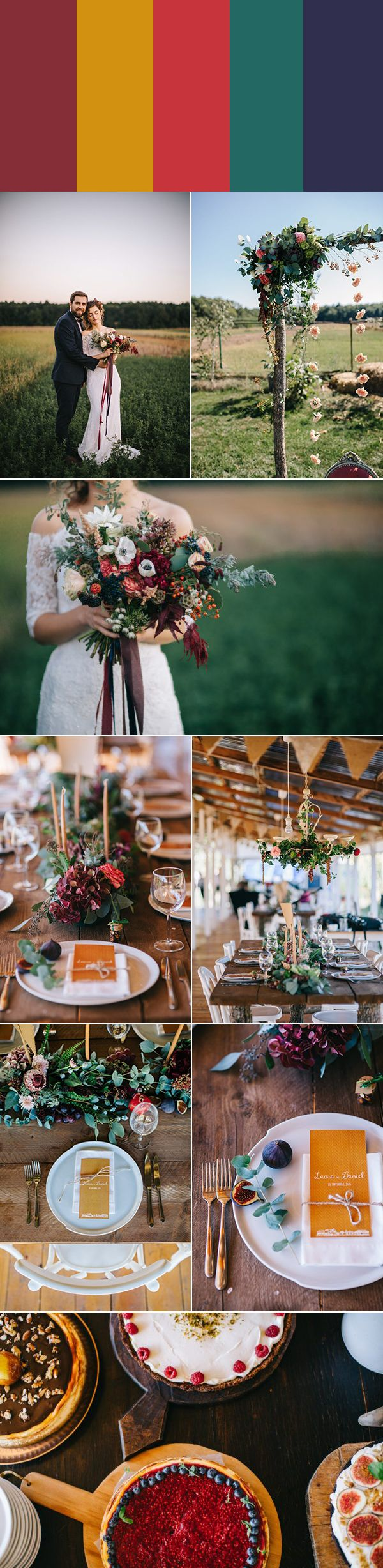 If you're planning a rustic wedding at a barn, ranch, or farm, get inspired by these five gorgeous rustic wedding color palettes.