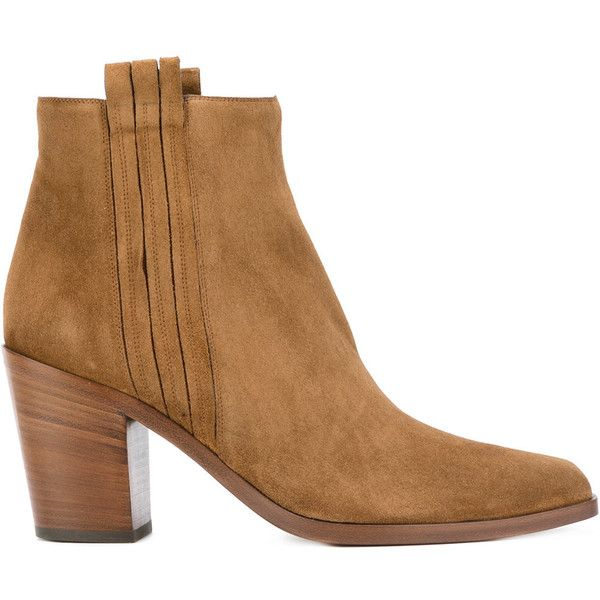 Sartore mid heel ankle boots ($554) ❤ liked on Polyvore featuring shoes, boots, ankle booties, brown, leather booties, short boots, leather sole boots, brown leather booties and short brown boots