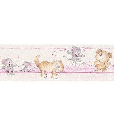 CENEFA INFANTIL KIDS CLUB RASCH C-272116. ¡A 19.50 EUROS! Bonitos y adorables gatitos en estas cenefas infantiles. Dulzura y sencillez para las habitaciones de las niñas. Disponible en varios colores.