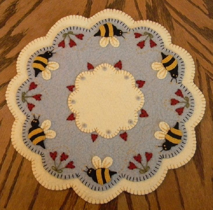 Bee my honey bee penny rug candle mat with coaster e for Penny coasters