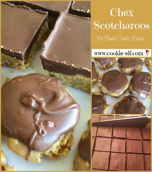 Chex Scotcharoos: easy no bake cookie recipe, plus versatile .. you can make it as a bar cookie or a drop cookie! Get the recipe: http://www.cookie-elf.com/chex-scotcharoos.html#sthash.TLSTHaeU.dpbs