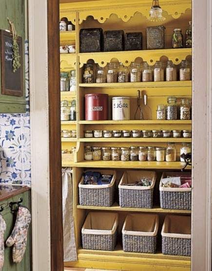 Oh, so yellow!  from Country Living via Attic Mag (thank you, Allison).  Since Pinning this, I've painted my pantry in a similar shade of yellow, and it is gloriously cheer-making!