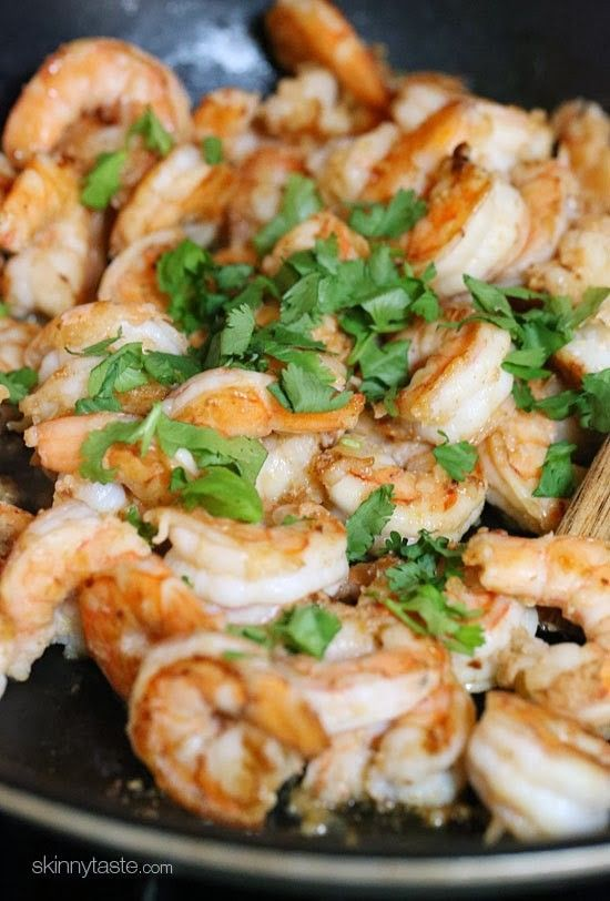 Cilantro Lime ShrimpIngredients:  1 1/2 pounds peeled and deveined jumbo shrimp 1/4 teaspoon plus 1/8 teaspoon ground cumin Kosher Salt and freshly ground black pepper 2 teaspoons extra-virgin olive oil 5 garlic cloves, crushed 2 tablespoons lime juice (from 1 medium lime) 3 to 4 tablespoons chopped fresh cilantro
