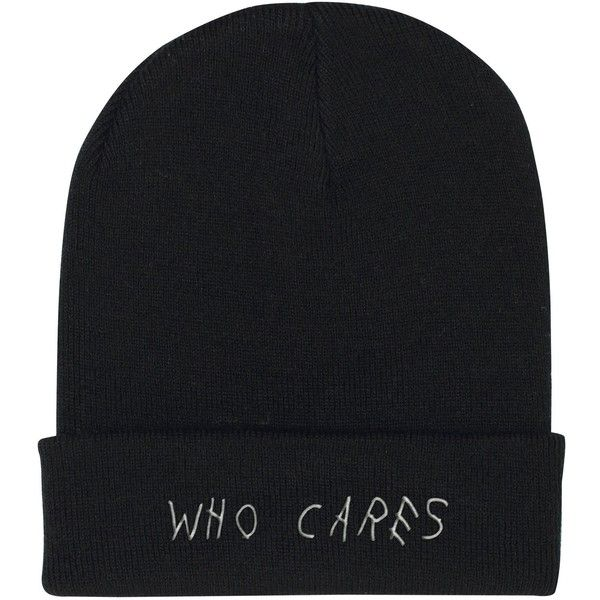 WHO CARES BEANIE (110780 PYG) ❤ liked on Polyvore featuring accessories, hats, pink beanie hat, embroidered beanie, faux leather hat, pink beanie and gothic hats