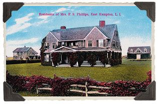 The shingle-style home was designed by Arts and Crafts architect Joseph Greenleaf Thorpe in 1897.  A Princeton graduate, Thorpe designed many of the summer cottages in East Hampton during the late 19th Century.  The home was completed several years later for Mrs. F. Stanhope Phillips, the daughter of the first editor of the Detroit Free Press.: East Hampton, Gardens Wall, Houses Wa, Gray Garden, Edith Bouvier, Bouvier Beals, Edie Bouvier, Summer Houses, Grey Gardens