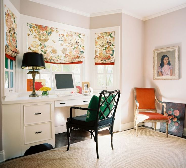 : Built In Desk, Romans Shades, Offices Spaces, Bay Windows, Desks, Window Treatments, Roman Shades, Bays Window, Home Offices