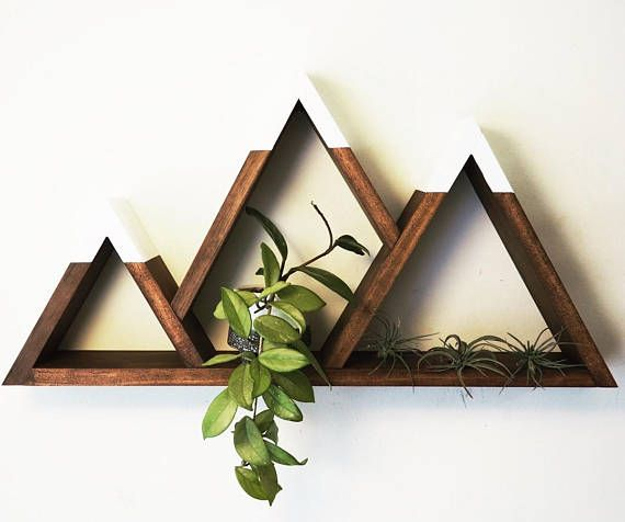Mountain Shelf with Painted Caps, Modern Wooden Shelving Unit, Easy Mount, Wall Art, Cabin Decor