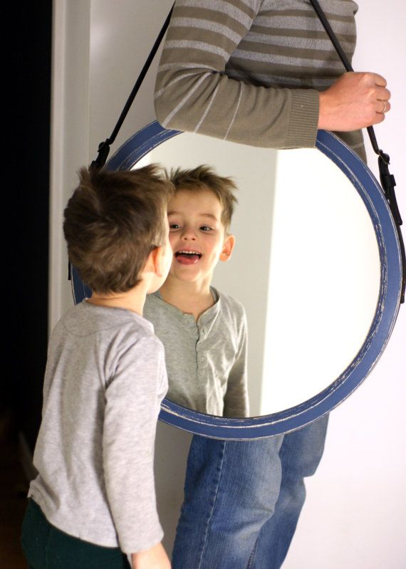 """Round Mirror on the Leather Belt """"Rio"""" / Loft Style / Wall ..."""