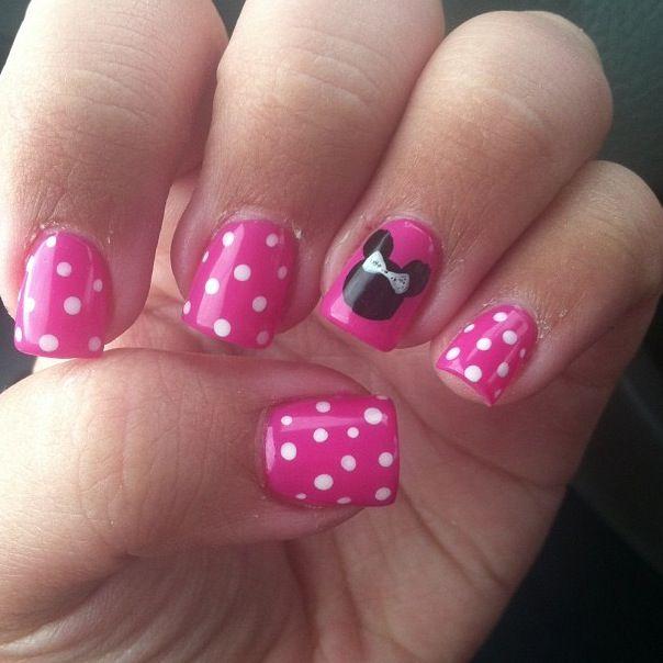 Polka dot Disney Nails