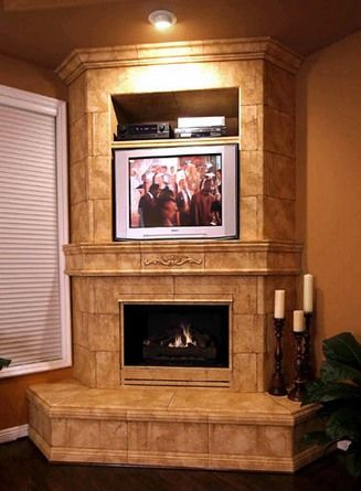 Corner Fireplace Design With Tv Corner Tile Fireplaces